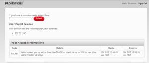 Uber credit screenshot